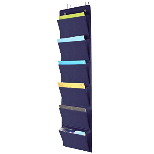 Over the Door File Organizer, Office Supplies Storage Hanging Holder Wall Mount Pocket Chart for Magazine,Notebooks,Planners,File Folders,6 Pockets Dark Blue