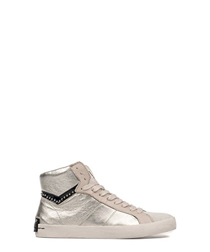 Crime London Silver Leather Hi-top Sneakers 37 by CRIME LONDON