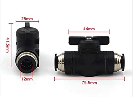 "Black, 1//2/""OD X1//2/""OD Tube Push Fitting Valve Connecting Hand Valve Union Fitting 2Pack Straight Union Ball Valve Air Flow Control Pneumatic Switch Push to Connect Fitting"