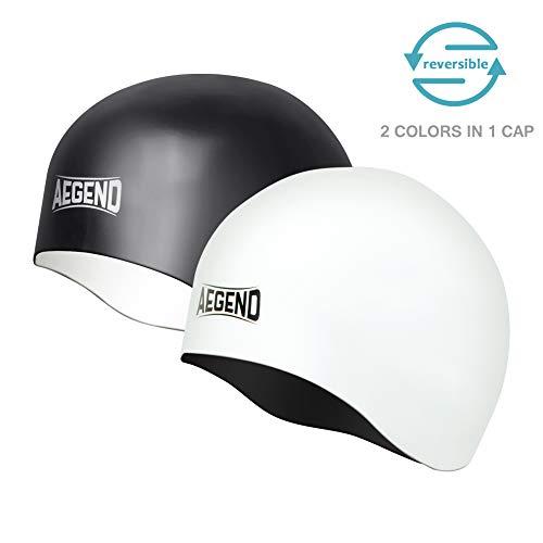 Aegend Solid Silicone Swim Cap, Comfortable Fit Swim Caps Sw