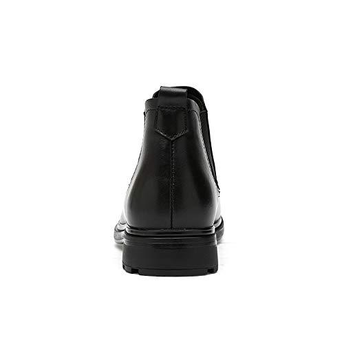 Bottines Option classique En Confortable Chenjuan La Doublées Chaussures Avec Pour Chelsea Et Hommes Noir Des Mode Bottes À Rides Casual Molleton HHU6wB