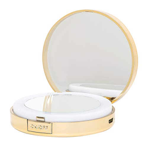 LWEMIN LED Lighted Travel Makeup Mirrors - 1X/10X Double Sided Pocket Size Compact Magnifying Mirror with Light for Travel