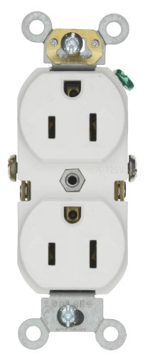 Leviton BR15-W 15-Amp, 125-Volt, Narrow Body Duplex Receptacle, Straight Blade, Commercial Grade, Self Grounding, White