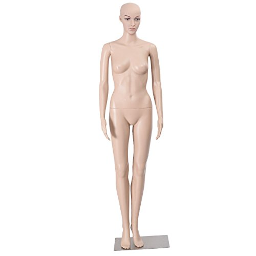 68.9'' Full Body Female Mannequin PE Plastic Realistic Display Head Turns Dress Form w/Metal Base by AyaMastro (Image #6)