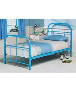 ex argos acacia single 3ft blue metal bed frame head foot board only kitchen home. Black Bedroom Furniture Sets. Home Design Ideas