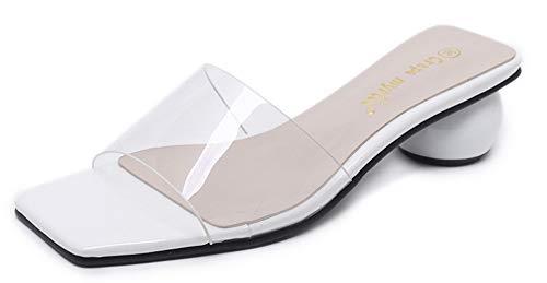Rond Transparent Aisun Blanc Bout Plage Talon Ouvert Mode Mules Femme rffxqEIB