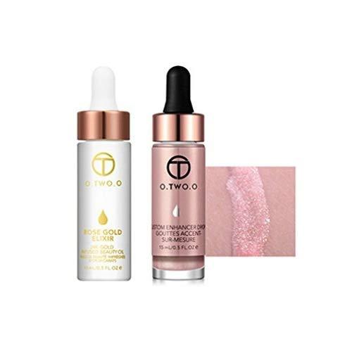O.TWO.O 2pcs/set Liquid Highlighter+24K Rose Gold Make Up Oil Make Up Set (9116 6051 02)