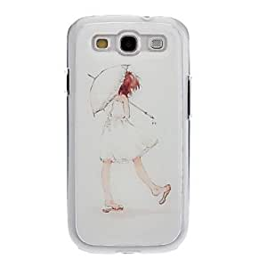 LIMME Girl Holding Umbrella Drawing Pattern Neutral Stiffiness Silicone Gel Back Case Cover for Samsung Galaxy S3 I9300