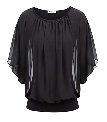 Jasambac Batwing Shirts for Women Ladies Dolman Top Solid Shirred Size Small Color Black