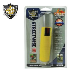 Lab Certified Streetwise18 Pepper Spray 1/2 oz 4M (SHU) Heat Rated w/Hardshell Case - MADE IN USA (Yellow)