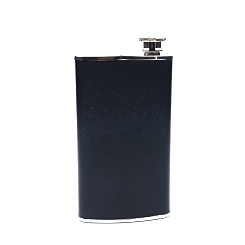 SAVAGE 4oz Hip Flask and Cigar Case Wrapped Black Bonded Leather 18/8 Stainless Steel (Black Bonded Leather Flask)