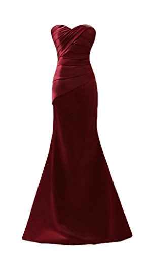 (Ikerenwedding Women's Sweetheart Lace-up Mermaid Formal Evening Prom Dress Burgundy US16)