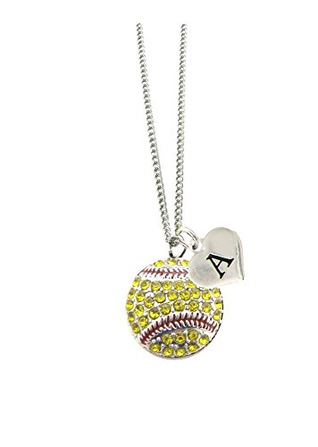 Custom Crystal Softball Silver Chain Necklace Choose Initial Charm All 26 Avail (Sport Crystal Necklace)