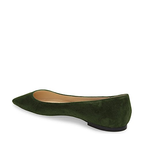 YDN Women Classic Pointy Toe Flats Suede Casual Shoes Low Cut Slip on Soft Green cost cheap price axr2C