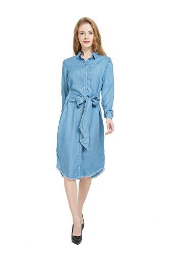 Tronjori Womens Distressed Long Sleeve Shirt Neck Button Down Denim Shirt Dress with Belt(L,Light Blue)