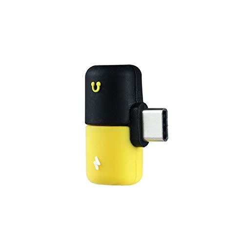 Vazan - Doppio Jack per Cuffie Tipo c Adattatore 2 in 1 Audio Caricabatterie per Il Samsung HTC Huawei Splitter Audio Converter per Xiaomi Mi8 Chraging [Nero Giallo]