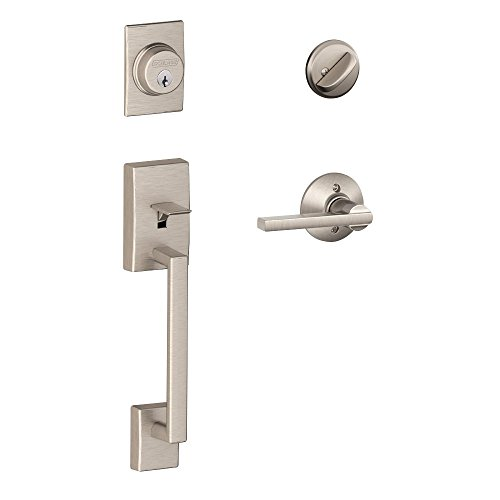 Schlage Century Single Cylinder Handleset and Latitude Lever, Satin Nickel (F60 V CEN 619 LAT) ()