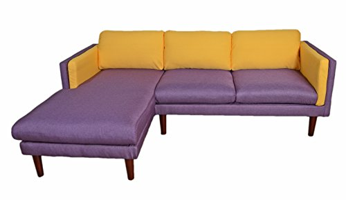 Beverly Furniture Amber Left Chaise L Shape Sofa, Yellow/Blue