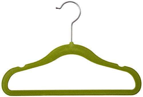 Homz Flocked Velvet Suit Hanger for Kids, Green, Pack of 25