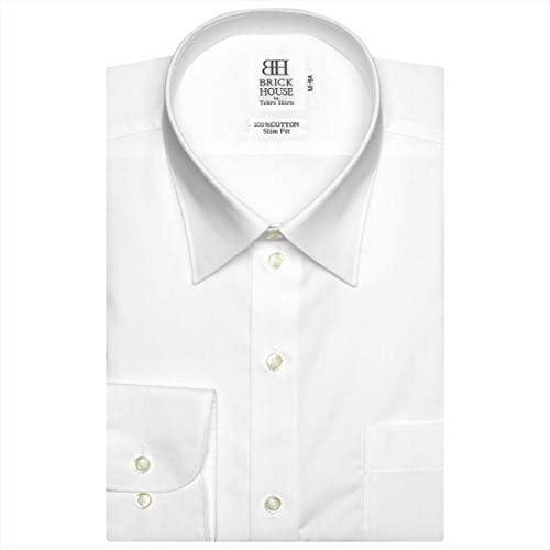 ブリックハウス ワイシャツ 長袖 形態安定 レギュラー 綿100% 白無地 ブロード スリム BM0100000011R40-99
