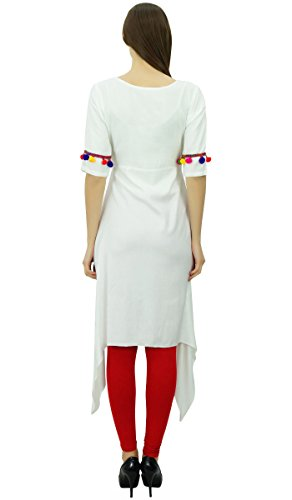 Vtements Top Rayon Pom Pom Angrakha Tunique Indian Designer Kurta Blanc Phagun Femmes Kurti Style qanZvgA7