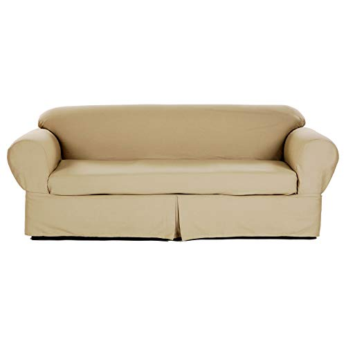 Two Piece Vibrant Khaki Home Decor Slipcover, Relaxed Fit Sofa Cover, 100% Cotton Material Slipcover for Living Room, Strong and Durable, Ideal for High-Traffic - Slipcover Rib Loveseat
