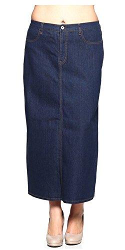 Tabeez Women's Classic Stretch Denim Long Skirt, Blue, 2X Plus