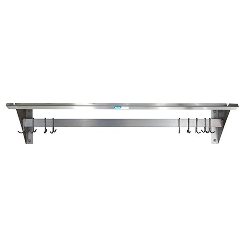Central Exclusive PRWS-4 Wall Shelf with Pot Rack - 48''Lx12''D, 250 lb. Capacity
