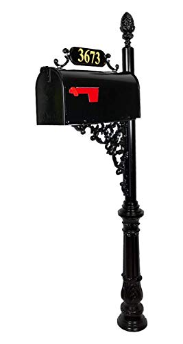 (Addresses of Distinction Magnolia Large Mailbox & Post System - Black Rust Resistant Mailbox - Includes Plaque, Decorative Bracket, Pineapple Finial & Mounting Hardware - Customized Address Numbers)
