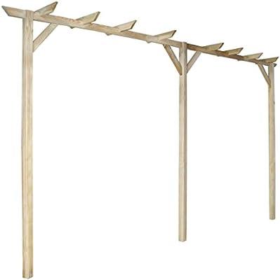 Anself - Pérgola de madera de pino para jardín terraza patio, 400 x 40 x 205 cm, anti-putrefacción: Amazon.es: Jardín