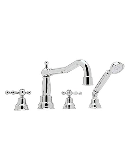 Rohl AC262OP-STN Arcana Four Hole Deck Mounted Roman Bathtub Filler Set with Column Spout and Handshower with Ornate White Porcelain Levers and Satin (Ornate Roman Tub Set)