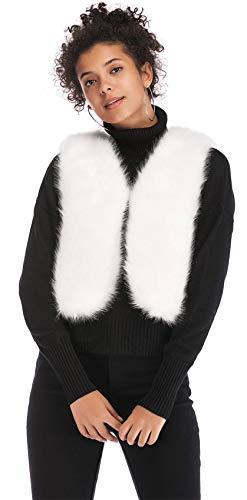 Vest Top Hiver Fourrure Fausse Débardeur Épais Veste Sans Manche Blanc Courte De Manteau Chaud Jacket Peluche Haut Blouson Court Crop Coat xnxwaH