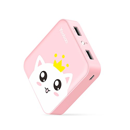 Yoobao Portable Charger 10000mAh Cute Power Bank External Battery Pack Powerbank Cell Phone Battery Backup with Dual USB Output Comaptible iPhone X 8 7 Plus, Samsung Galaxy & More - Pink Cat