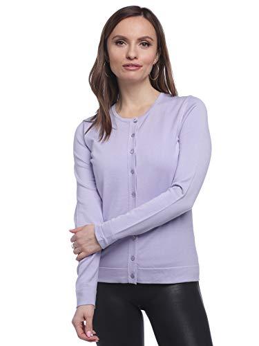 August Silk Women's Long Sleeve Crew Neck Jersey Cardigan with Tub Trim, Purple Heather, Medium