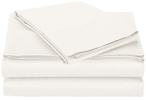 AmazonBasics 400 Thread Count Sheet Set, 100% Cotton, Sateen Finish - Twin, White