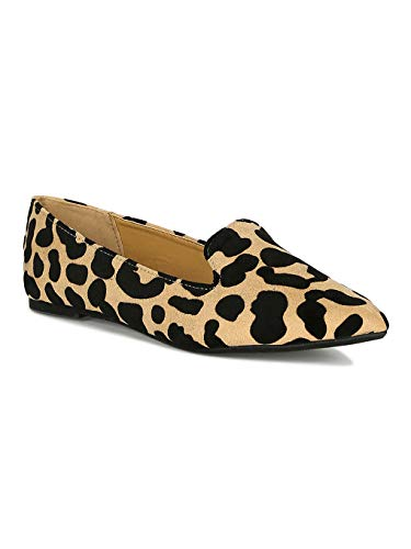 Alrisco Women Wild Print Pointy Toe Slip On Flat Loafer RB08 - Tan/Black Leopard Faux Suede (Size: 9.0) (Qupid Print Animal)