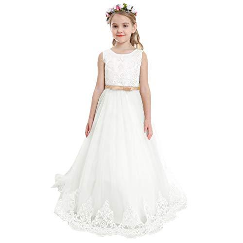 Bow Dream Flower Girl Dress Vintage Wedding Communion Big Girls Tulle Lace Princess Bowknot Evening Birthday Party Dress Ivory -
