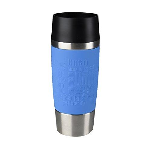 Emsa Travel Mug Taza térmica, Mantiene Calor 4 h y frío 8 h, Acero Inoxidable con Base Antideslizante y Zona de Agarre de Silicona con Letras grabadas, Azul Cielo, 8.1 x 8.1 x 20.1 cm