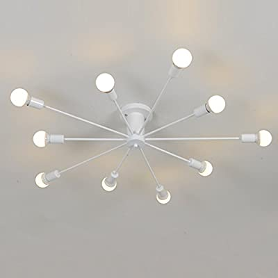 "Aero Snail White Modern Style Flush Mount Designers Metal 10-Light Ceiling Lamp Chandelier Lighting Fixure - Voltage: 110V-120V;Suggested Room Fit: 15-20㎡ Study Room/Office, Kitchen, Dining Room, Bedroom, Hallway, Living Room, Game Room, Entry, Kids Room Fixture Dimensions: H7.9"" x W43"" x L43"" Bulb NOT Included: 10 x E26 x Max 60W per Bulb - kitchen-dining-room-decor, kitchen-dining-room, chandeliers-lighting - 31FJ5RBK7SL. SS400  -"