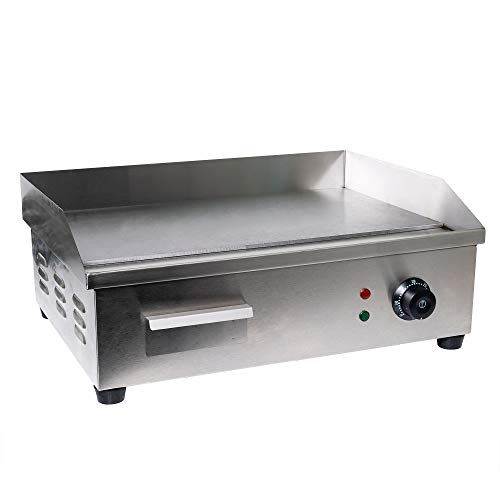 WYZworks Commercial Electric Counter Griddle Manual Temperature Adjustable Thermostatic Control Plug In Go Steak Oven