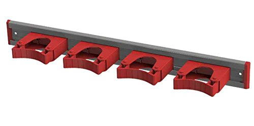 Toolflex Aluminum Rail 50cm (20 inch) with 4 Mounted Tool Holders Red 5-0040-2