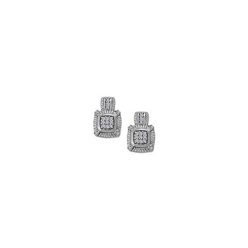 Tdw Diamond Square Earrings - April Birthstone Diamond Square Earrings in 14K White Gold 0.25 CT TDW