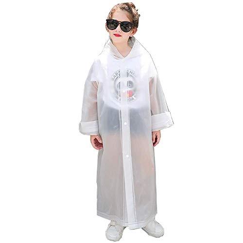 - suyncyi Kids Rain Ponchos,Reusable Kids Rain Coat for 6-11 Years Old -White