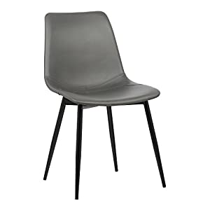 Armen Living Monte Dining Chair in Grey Faux Leather and Auburn Bay Finish