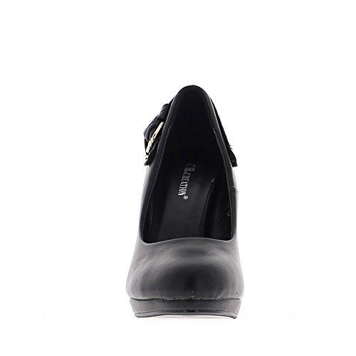 Escarpins noirs à talons fins de 11cm bouts ronds