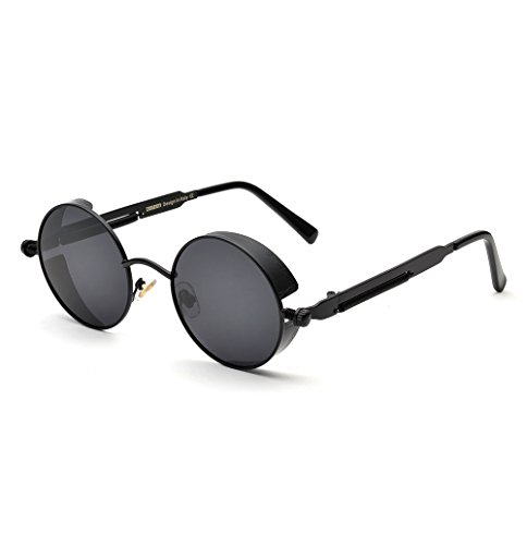 ZUVGEES Polarized Steampunk Round Sunglasses for Men Women Mirrored Lens Metal Frame S2671 4
