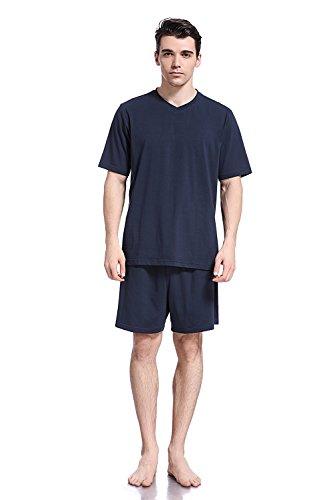 Like2sea Summer Cotton Pajamas for Men, Short V-Neck PJ Set, Blue, L by Like2sea