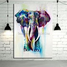 hand-painted-color-animals-oil-painting-hang-paintings-modern-elephant-picture-for-home-decor-runnin