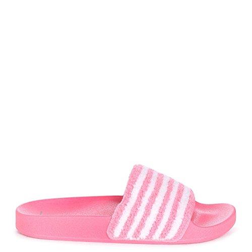 MARA - Pink & White Slip On Slider with Towel Front Strap Pink 5i9qs2m