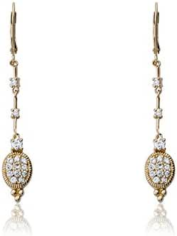 Riccova Retro Rhodium Dangle Earring With Cubic Zirconia Pave Oval Bottom